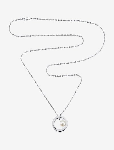 60's Pearl Long Necklace - pendant necklaces - silver