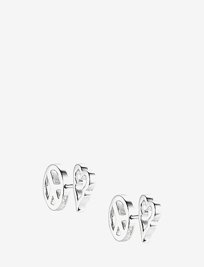 Peace & Love Ear - stud earrings - silver