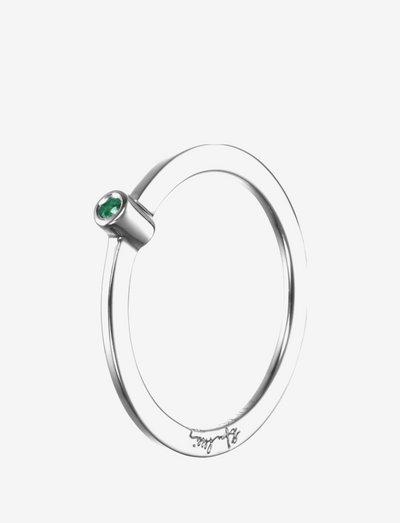 Micro Blink Ring - Green Emerald - sormukset - silver