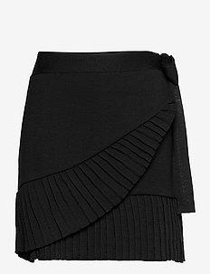 Lucy merino skirt - jupes portefeuille - black