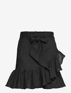 Julli linen skirt - jupes courtes - black