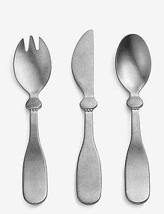 Children's Cutlary set - Antique Silver - sztućce - matt silver