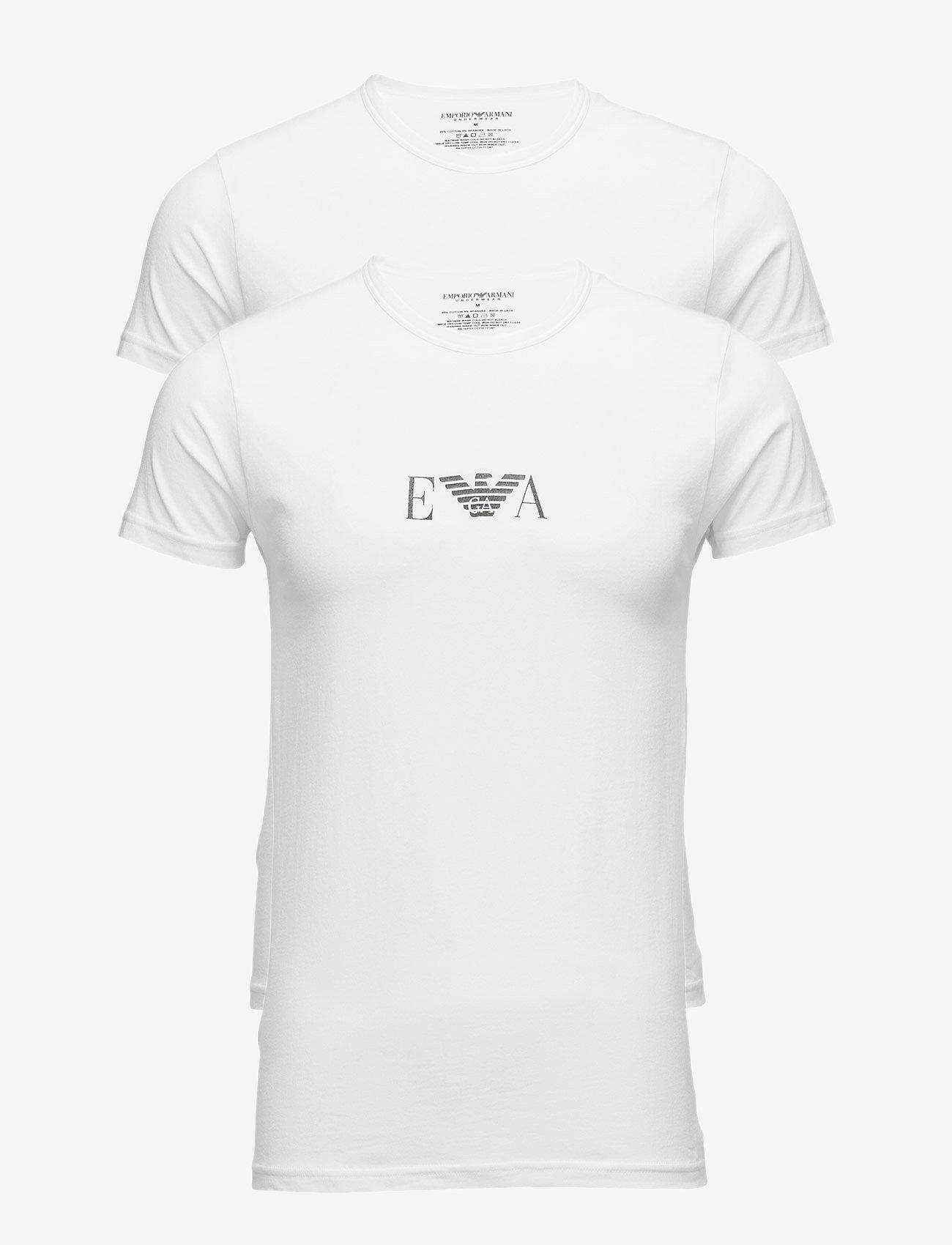Emporio Armani - MENS KNIT 2PACK T-SH - kortärmade t-shirts - bianco/bianco - 0