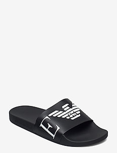 SLIPPER - pool sliders - black+white+black