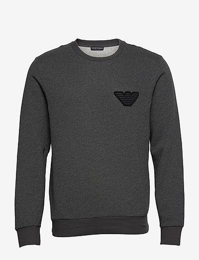 MEN'S KNIT SWEATER - sweats - grigio melange nero