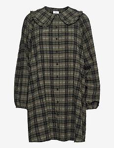 ENSANTOLINA DRESS 6800 - skjortekjoler - olive check