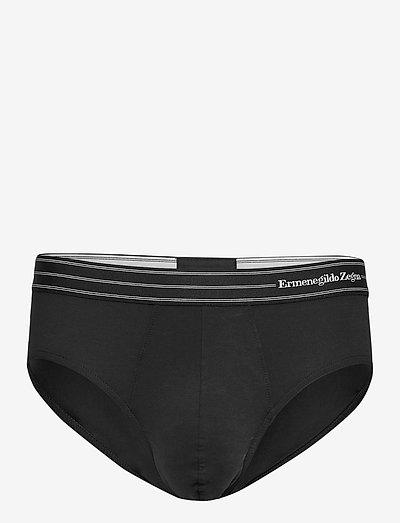 Black Stretch Cotton Midi Brief - sous-vêtements - black