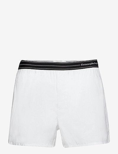White pure woven cotton boxer - caleçon - white