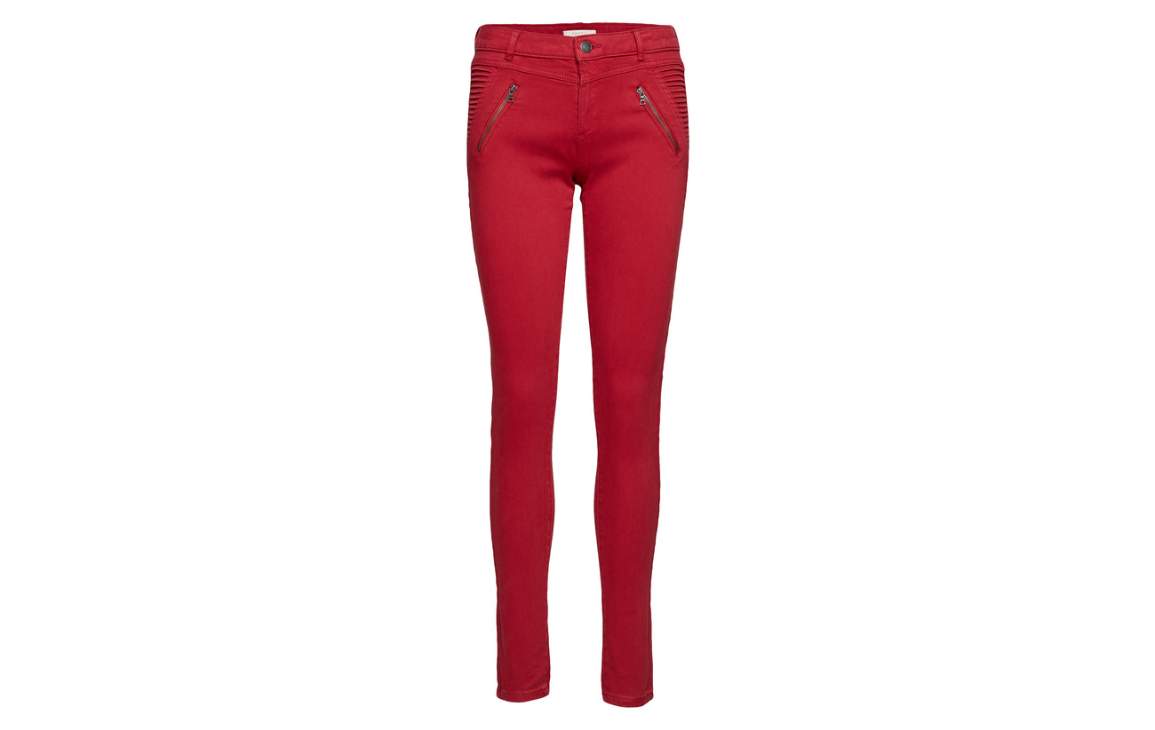 3 Elastane 8 Red 89 Coton Woven Esprit Casual Polyester Pants q8zvwfP