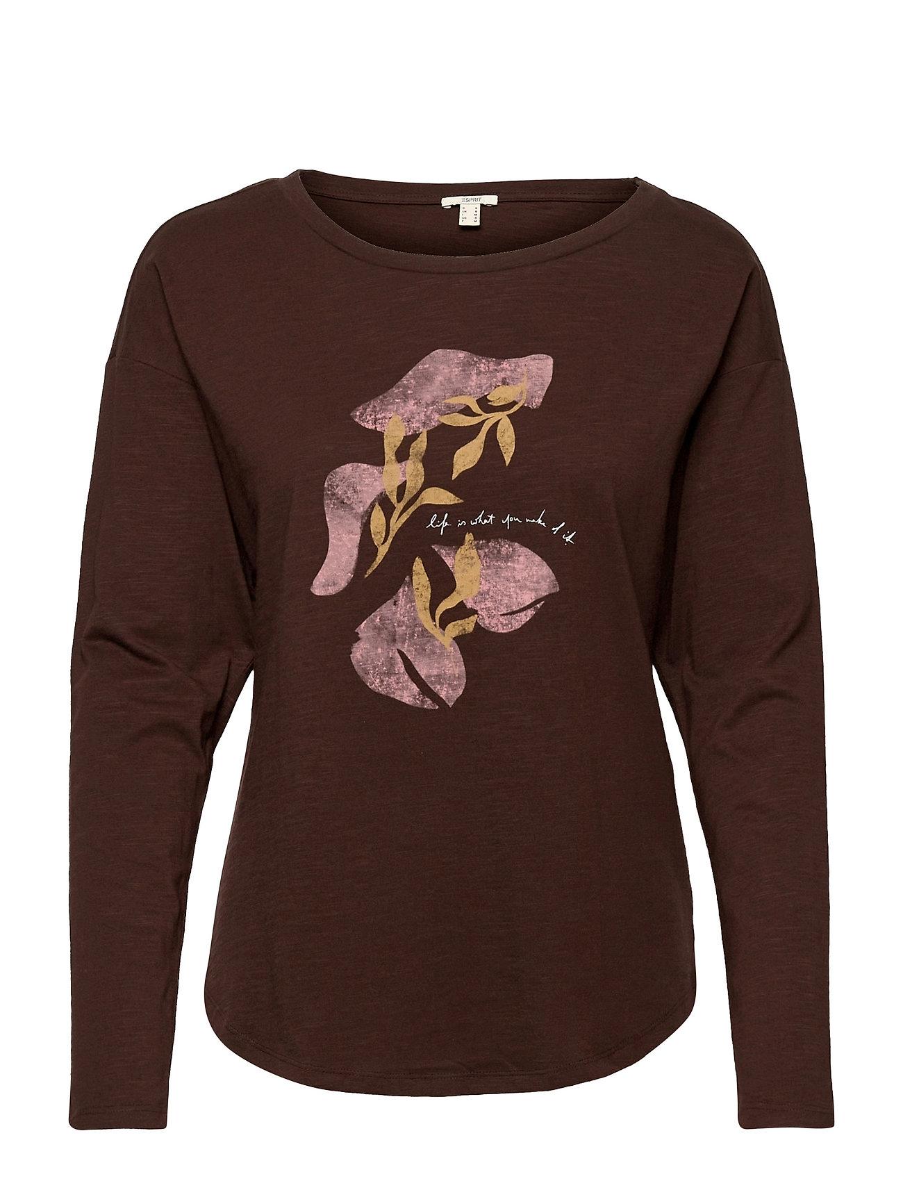 T-Shirts Langærmet T-shirt Brun Esprit Casual
