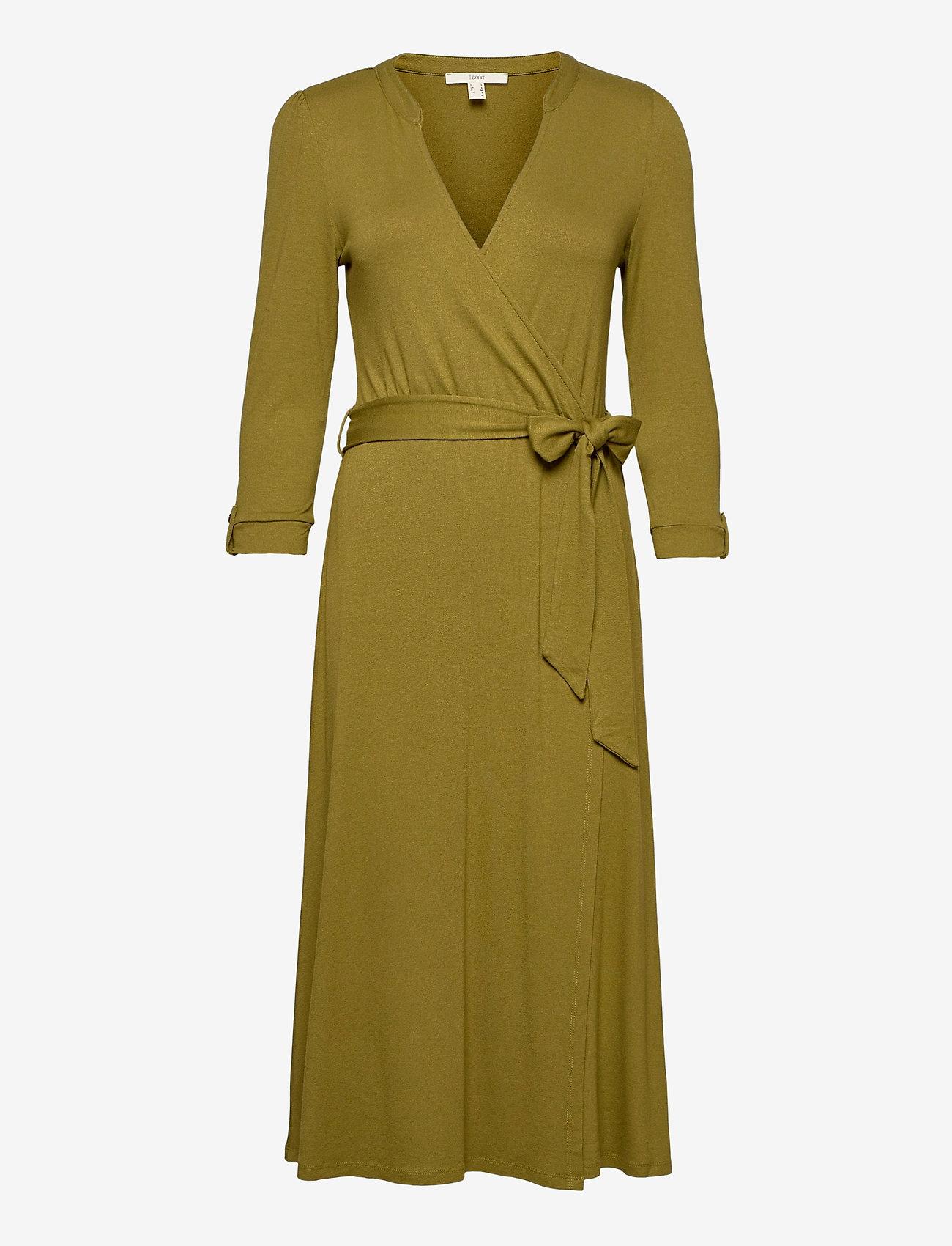Esprit Casual - Dresses knitted - slå-om-kjoler - olive - 0