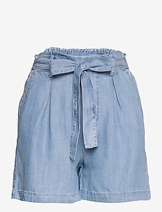 Shorts denim - paper bag shorts - blue bleached