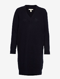 Dresses flat knitted - knitted dresses - navy
