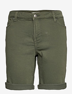 Shorts woven - denim shorts - khaki green