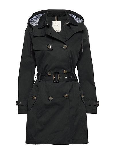 Coats Woven Trenchcoat Mantel Schwarz ESPRIT CASUAL