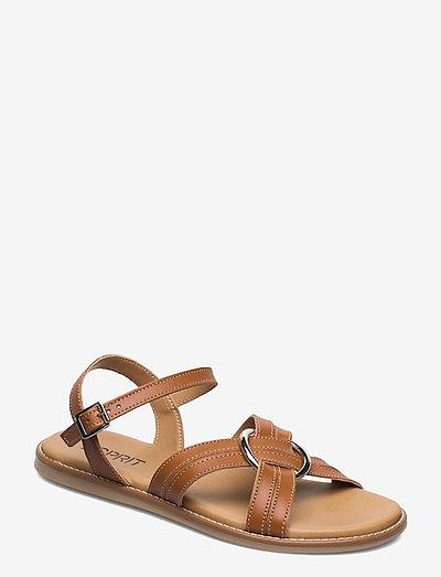 Formal Shoes leather - flade sandaler - caramel