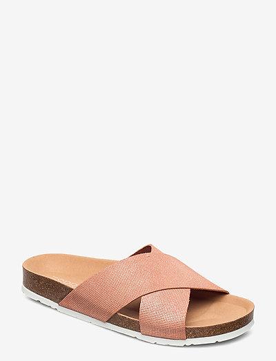Formal Shoes leather - flade sandaler - pastel pink