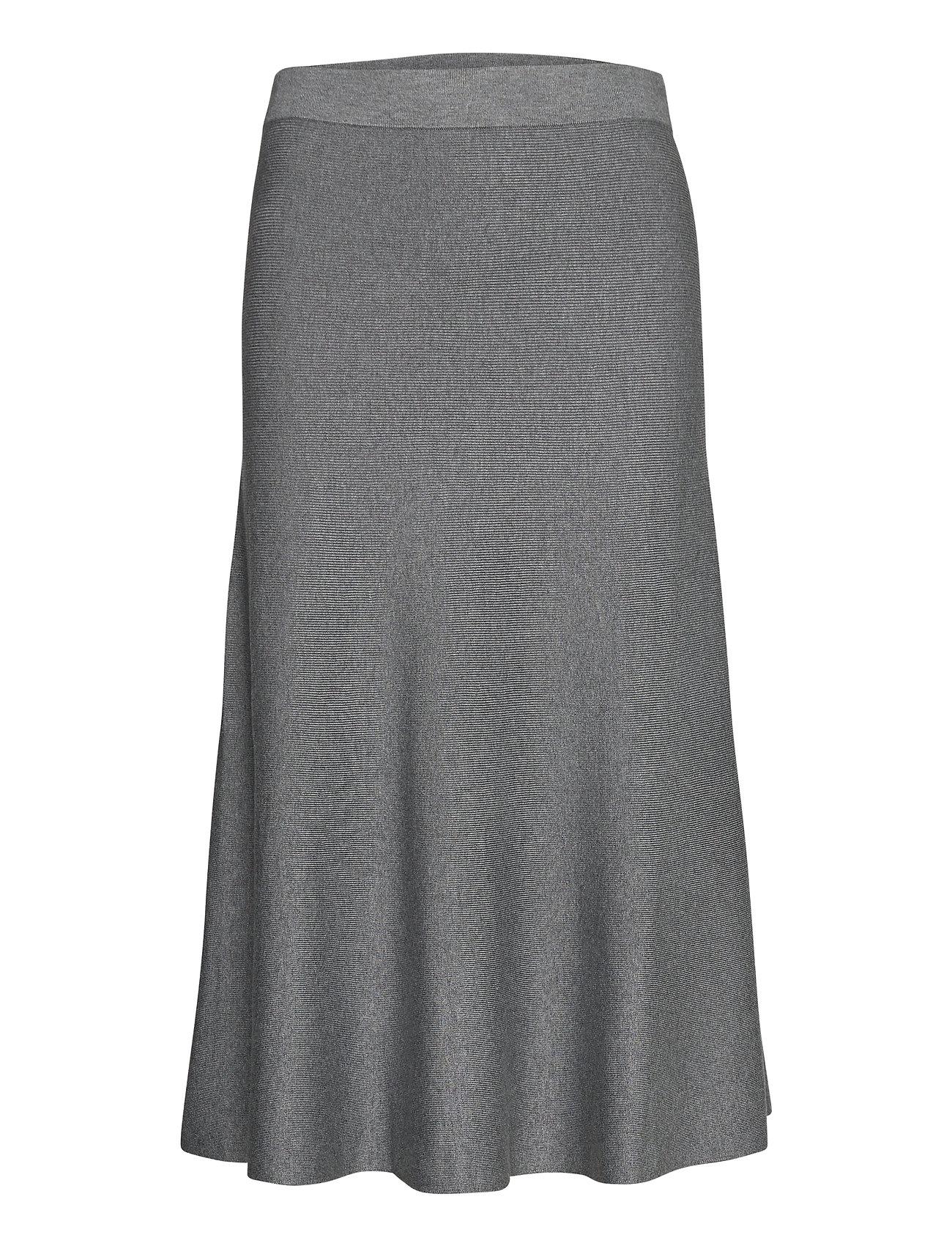 Skirts Flat Knitted Knælang Nederdel Grå Esprit Collection