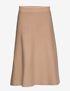 Skirts flat knitted - midinederdele - light beige