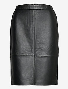 Skirts leather - jupes midi - black