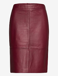 Skirts leather - midi skirts - bordeaux red