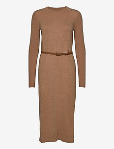 Dresses flat knitted - knitted dresses - camel 4