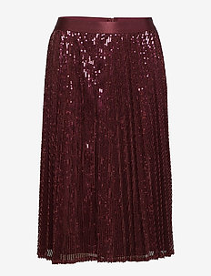 Skirts knitted - midi skirts - bordeaux red