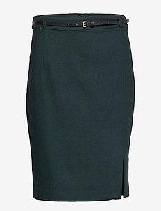 Skirts woven - midinederdele - dark teal green