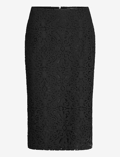 Skirts light woven - midinederdele - black