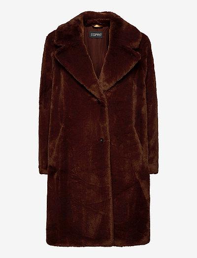 Coats woven - fake fur - rust brown