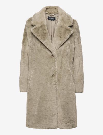 Coats woven - fake fur - light khaki