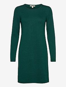 Dresses flat knitted - gebreide jurken - dark teal green