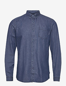 Shirts woven - peruspaitoja - blue medium wash