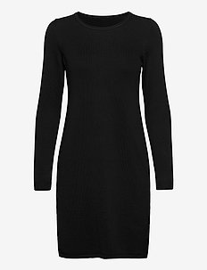 Dresses flat knitted - gebreide jurken - black