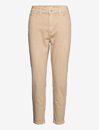 Pants woven - straight regular - beige
