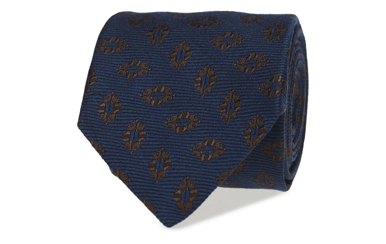Eton blå Medallion Silk & Wool Tie Slipsar & Accessoarer