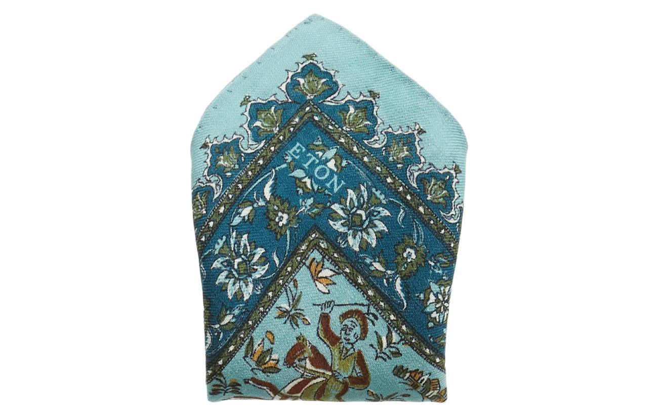Eton Turquoise Persian Motif Pocket Square Slipsar & Accessoarer