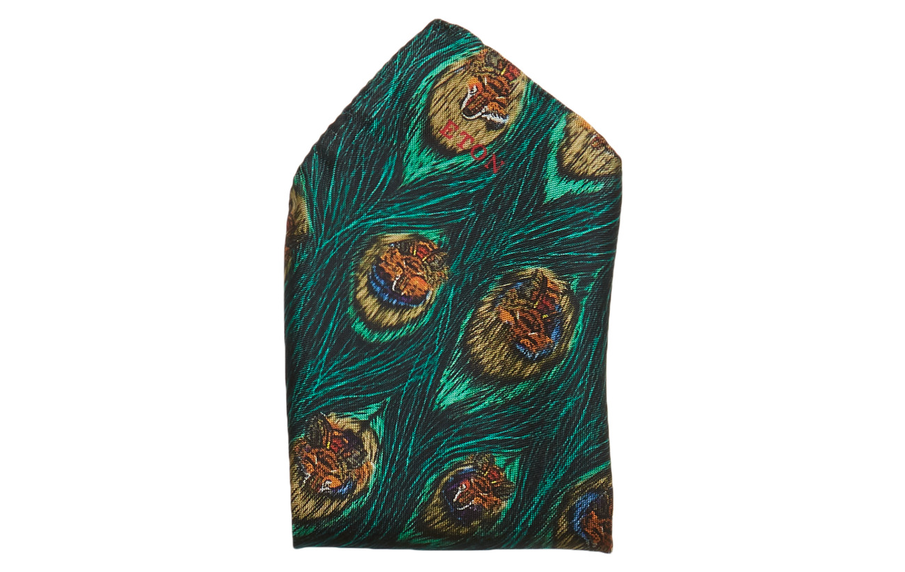Feather Print SquaregreenEton Green Peacock Pocket Pk8n0XwO