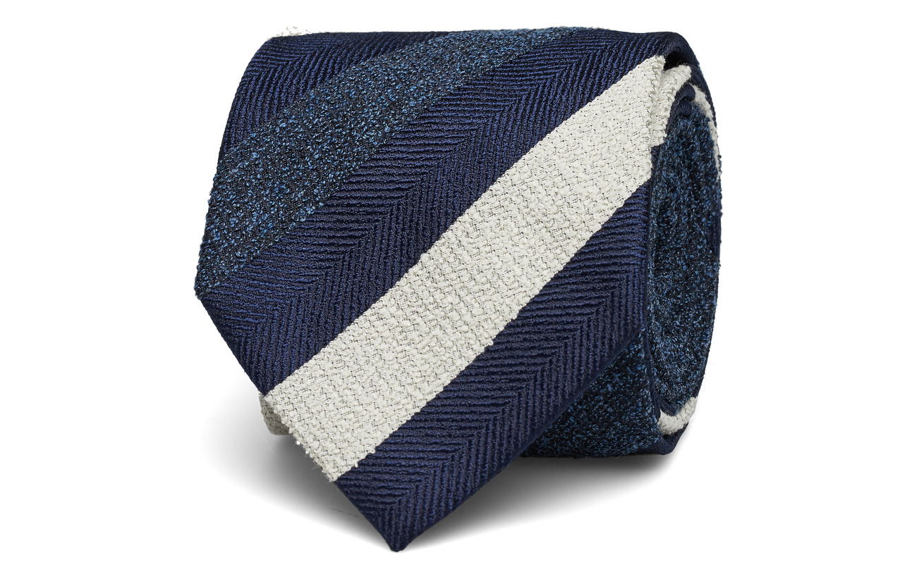 Eton Navy Striped Silk, Cotton & Polyester Tie - BLUE