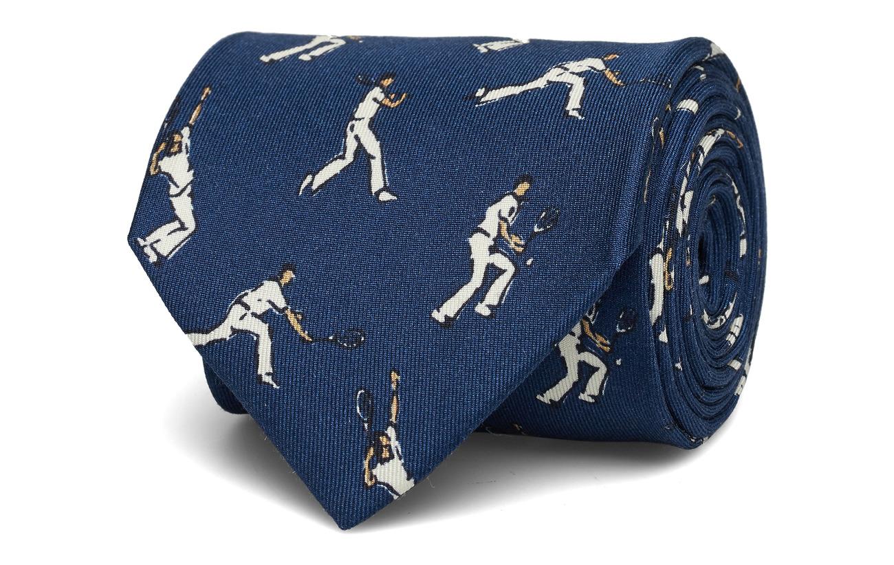 Eton Navy Tennis Player Print Tie - BLUE