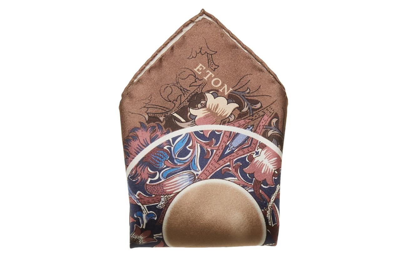 Eton Teacup Floral Pocket Square - OFFWHITE/BROWN