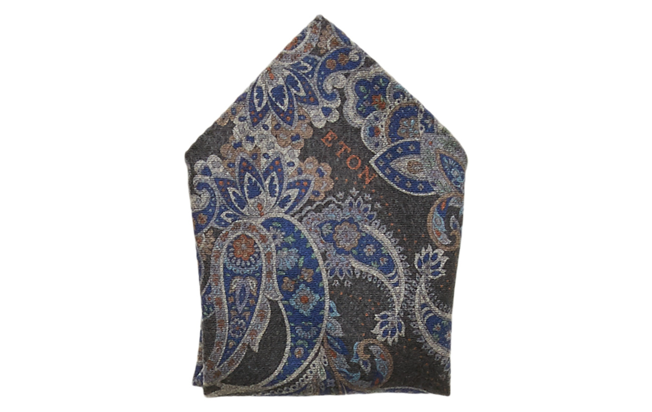 Eton Floral Paisley Pocket Square - GREY