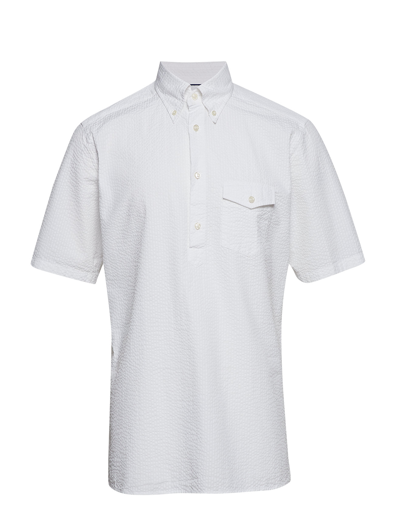 Eton White Seersucker Short Sleeve Popover Shirt - WHITE