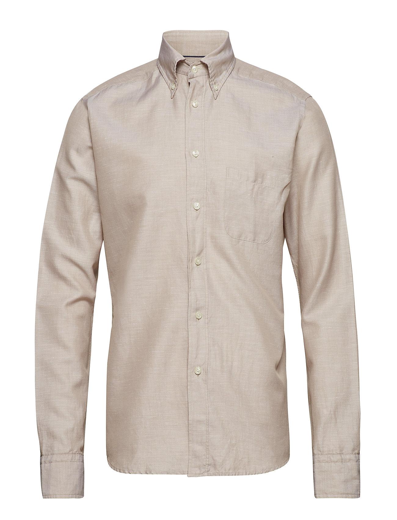Eton Beige Cotton & Linen Shirt - OFFWHITE/BROWN