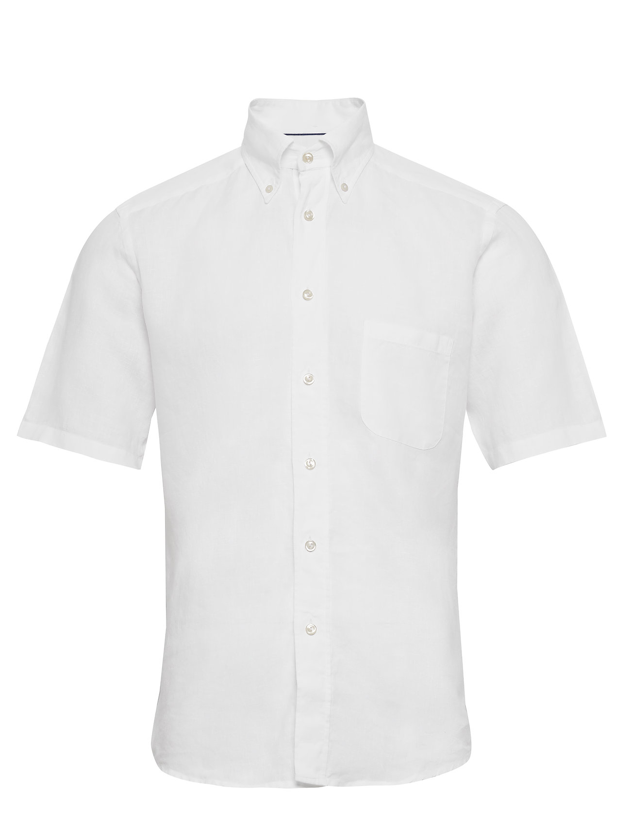 d2dbc376 Eton Green Linen Short Sleeve Shirt. Model images represent the fit and ...