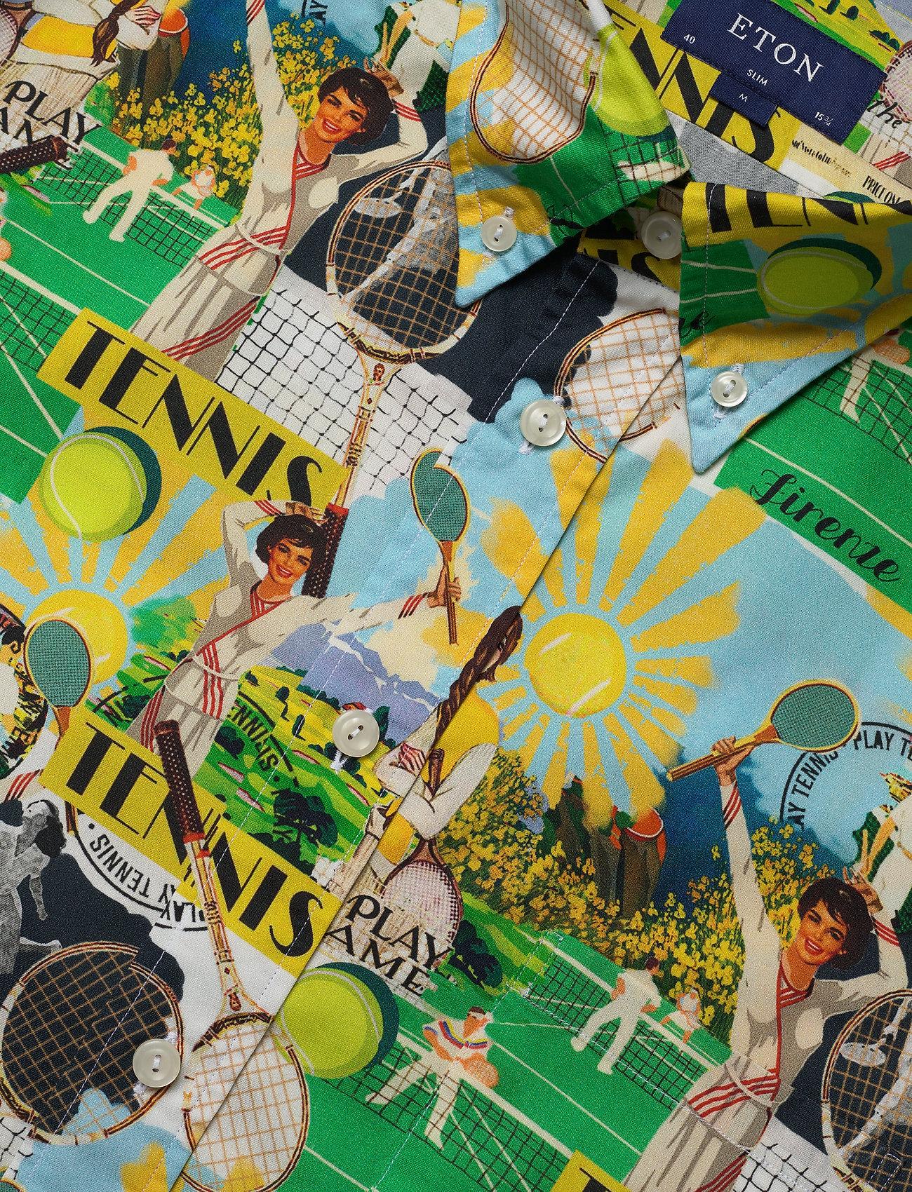 Eton Vintage Tennis Print Shirt - Skjorter PINK/RED - Menn Klær