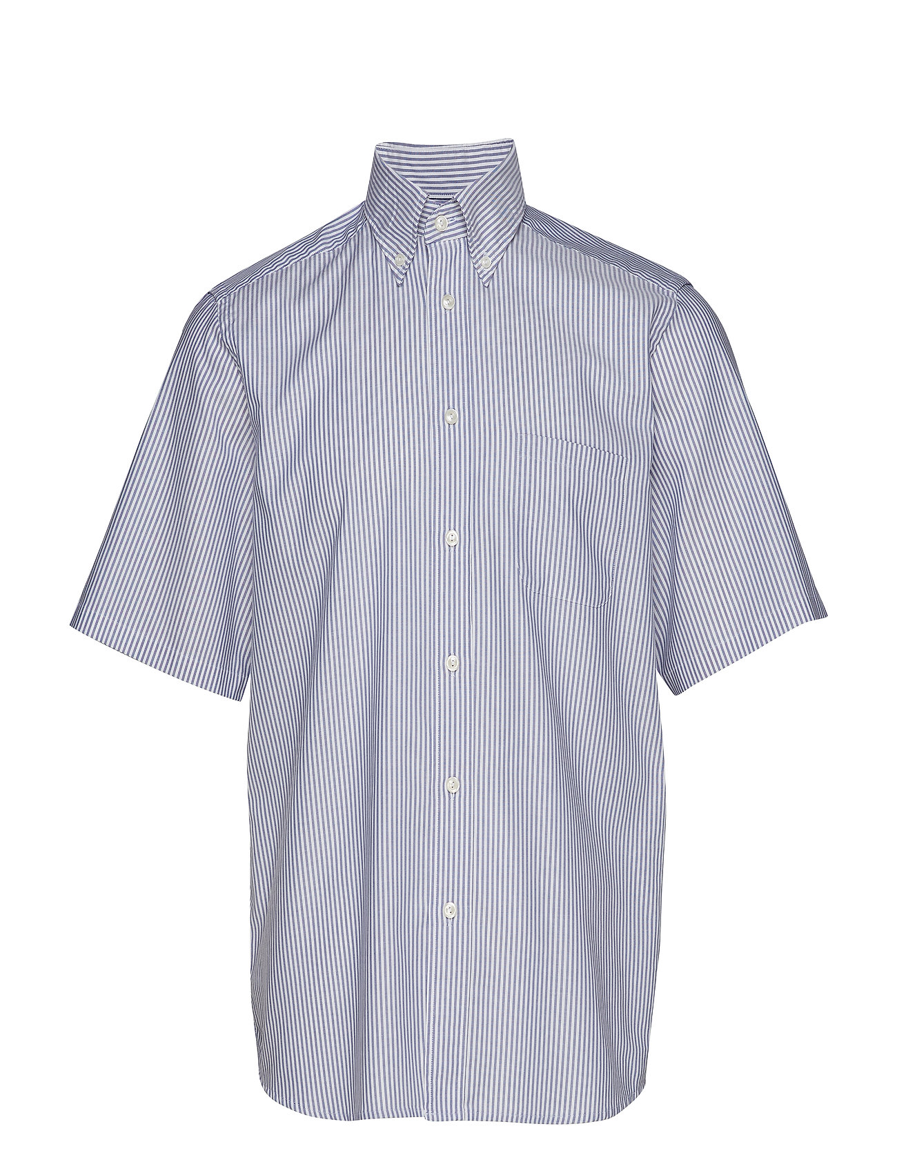 Eton Sky Blue Striped Natural Stretch Oxford Short Sleeve Shirt - BLUE