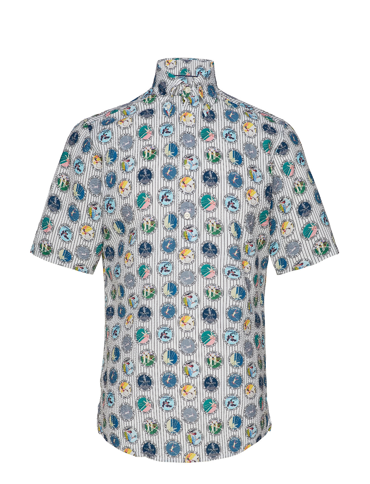 Eton Tennis Print Seersucker Short Sleeve Popover Shirt - WHITE