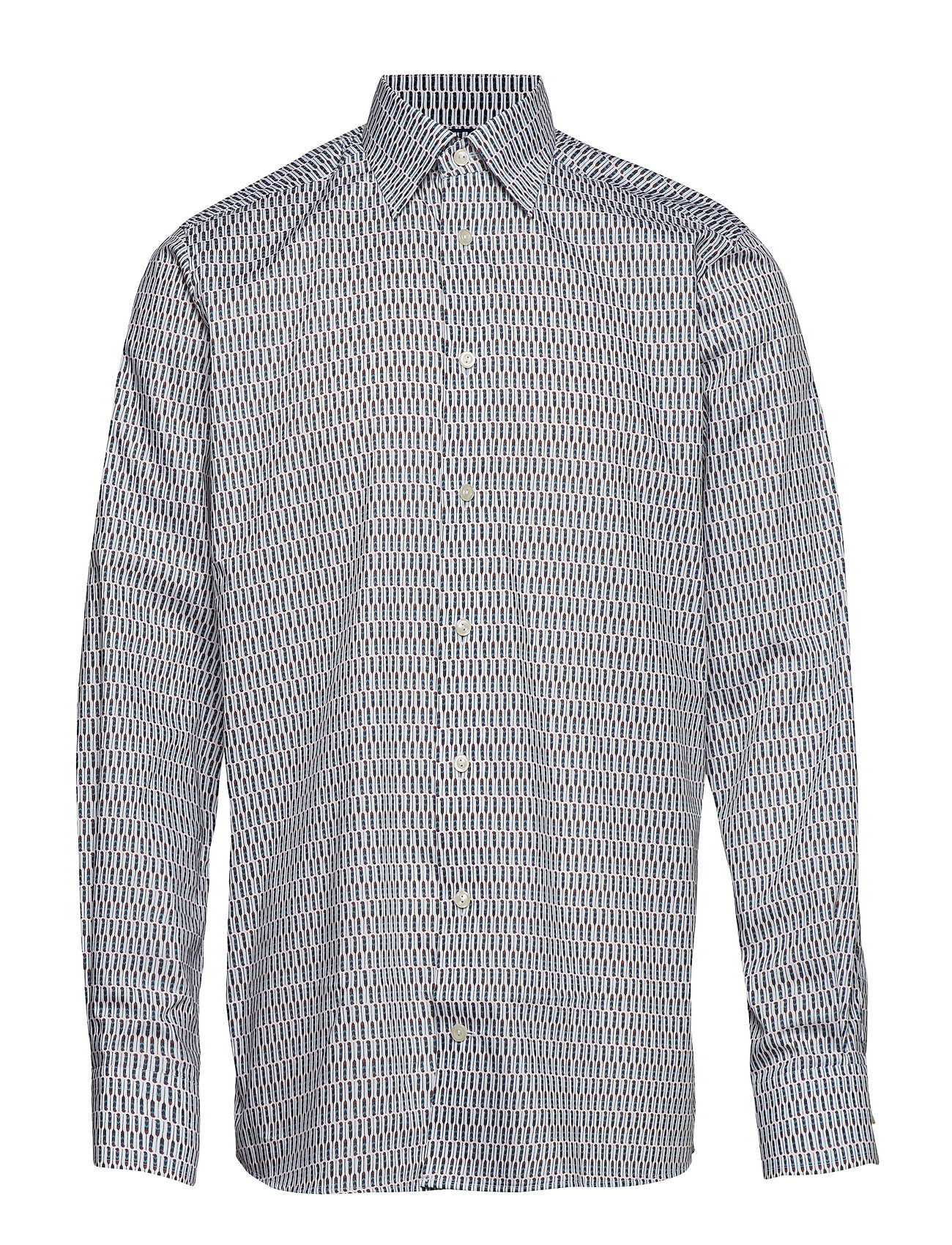 Eton White Graphic Feather Printed Twill Shirt - PINK/RED