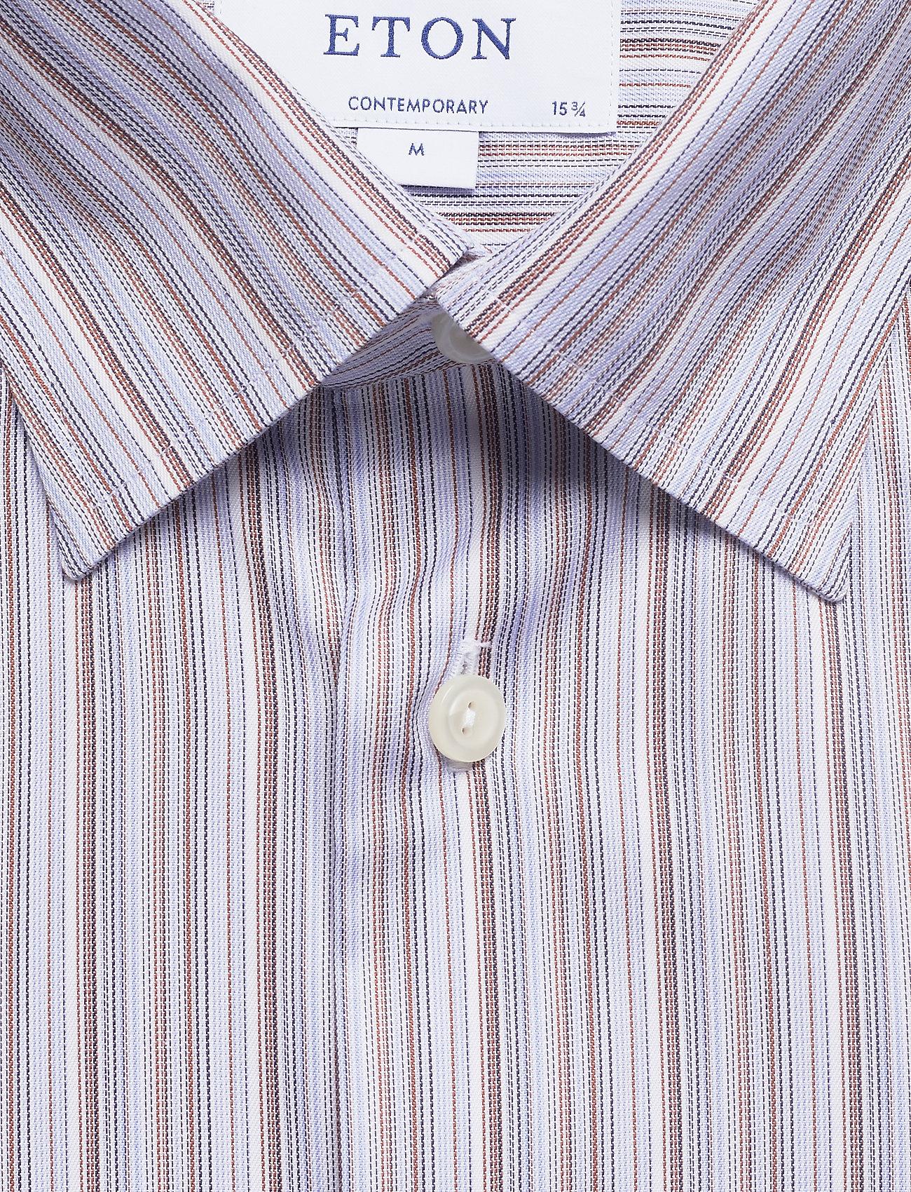 Striped Shirtpink Blueamp; Brown redEton Fine Twill QtdCshrx